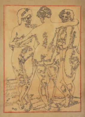 Wywiál Sándor: Három grácia (másolat: Regnault Három Gracia c. festménye után), 1928, papír, ceruza, 30x22 cm MTA Pszichiátriai Művészeti Gyűjtemény Ltsz.: 89.300 (c) Tihanyi Bence – Bakos Ágnes