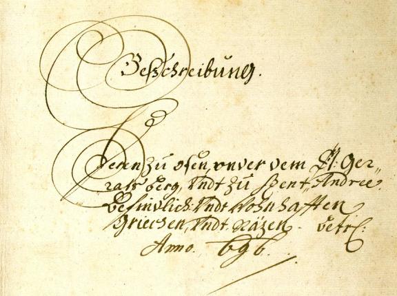 Urbaria et Conscriptiones (E 156) Szentendrére vonatkozó összeírása 1696-ból. MNL OL – E 156 – Fasc. 7. – No. 42. – pag. 1.