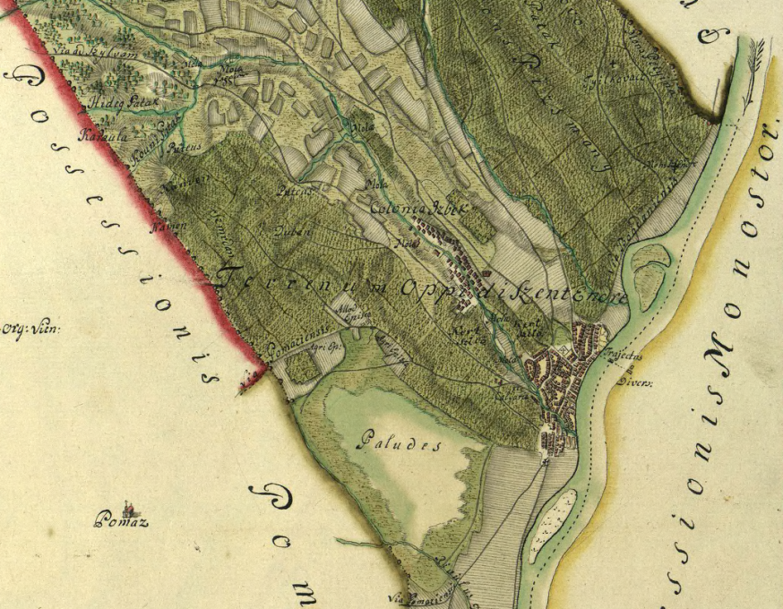 Szentendre térképe, 1767-1779, részlet. MNL OL – S 11 – Nr. 830/81