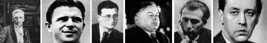 Gárdonyi (Ziegler) Géza, Puskás (Pultzer) Ferenc, Ságvári (Spitzer) Endre, Kun (Kohn) Béla, Radnóti (Glatter) Miklós, Márai (Grosschmid) Sándor.