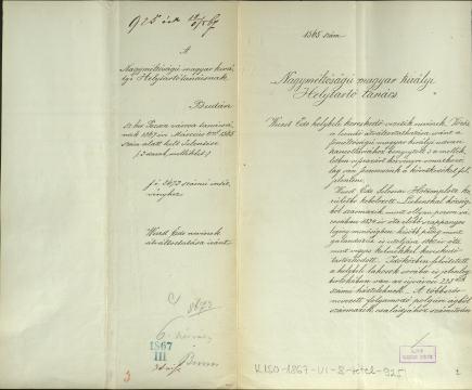 Pozsony város felterjesztése névváltoztatási ügyben. MNL OL K 150 – 1867–VI–8.t – 3693/1867. Belügyminisztérium – Általános iratok.