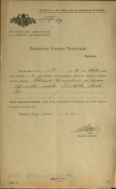 MNL – OL – K 150 – 1890 – I – 1 – 99 – 1. pag