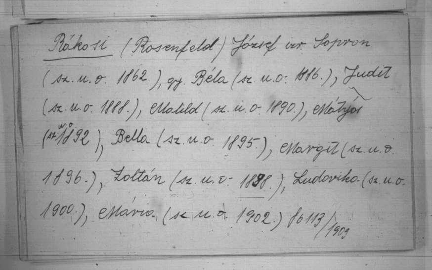 Rákosi (Rosenfeld) Mátyás és családja névváltoztatása 1903-ból. MNL – OL – MF 30803 (X 63)
