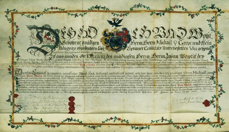 Sikula Pál kispalugyai szakács részére 1780. január 30-án kiadott szabadulólevél. MNL OL R 276 – No. 170