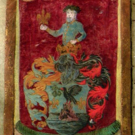 Miksa által adományozott nemesi címer razinyai Huszthy György részére. Bécs, 1565.01.21. MNL OL R 64 – 1 – 28.
