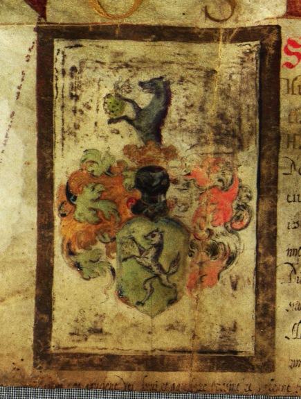 Rudolf által adományozott nemesi címer Szőlősy Mihály részére Prága, 1602.09.09. MNL OL R 64 – 1 – 108.