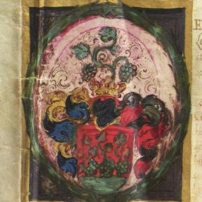 Ferdinánd által adományozott nemesi címer Kovács Péter részére Pozsony, 1638.02.07. MNL OL R 64 – 1 – 349.