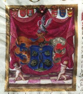 Károly által adományozott nemesi címer id. Szakmáry Dávid részére. Pozsony, 1712.05.27. MNL OL R 64 – 1 – 698.