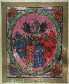Mária Terézia által adományozott nemesi címer Schwartner Márton részére. Pozsony, 1741.10.28. MNL OL R 64 – 1 – 751.