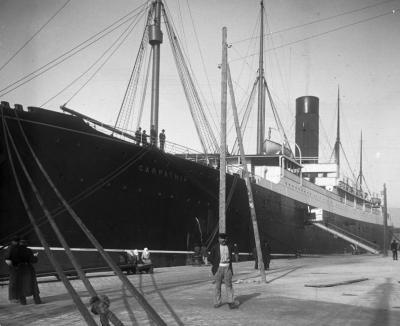 The transatlantic passenger steamship Carpathia at the port, 1903
