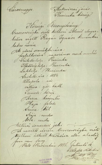 Kurinkai lakosok kivándorlása Oroszországba, 1887. MNL OL K 150 1887 – VII – 13 – 17522 – 16