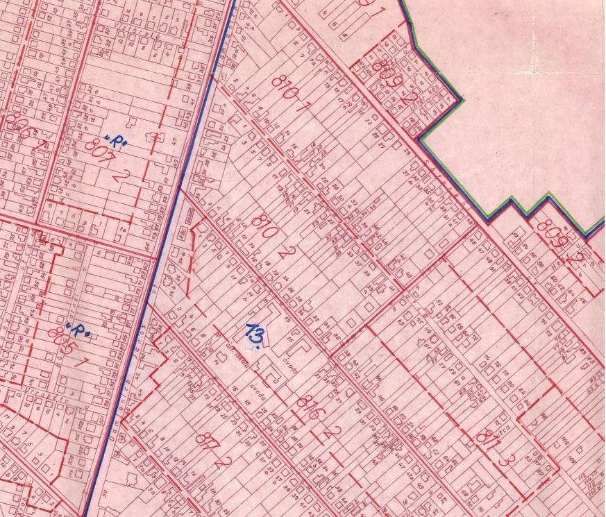 Esztergom 1990. évi népszámlálásra készített számlálókörzeti térképének részlete.