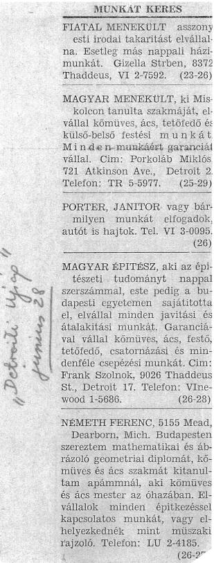 """Újsághirdetések. MNL OL XIX-J-1-k Külügyminisztérium, Amerikai Egyesült Államok (1945–1964), Adminisztratív iratok 126. tétel Jelentések, sajtószemlék, külföldi lapkivágások (1945–1957), """"Detroiti újság"""" 1957. június 28."""