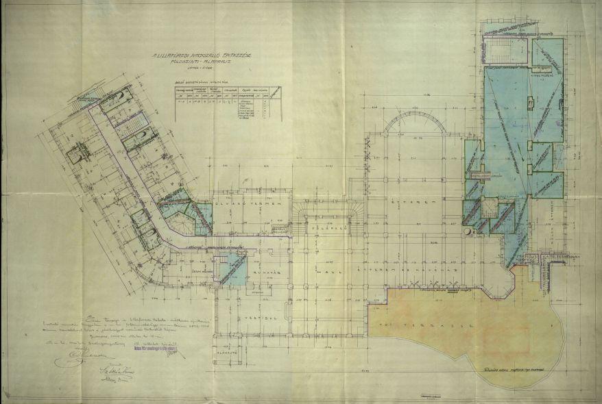 A lillafüredi Palotaszálló földszinti alaprajza a Melocco Péter gyára által végzett burkoló munkák feltüntetésével, 1928. MNL OL K 184 – 8175/274.