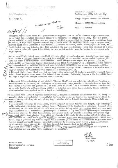 Zádor jelentés – 1957. február 19.