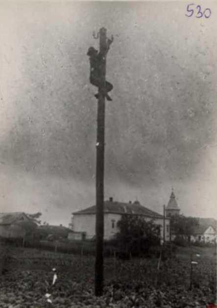 A pócspetri-per egyik vádlottja, Vitéz Gábor megmutatja hogyan vágta el a telefonvezetéket. Közvetett bizonyíték az eljárásban. 1948. június
