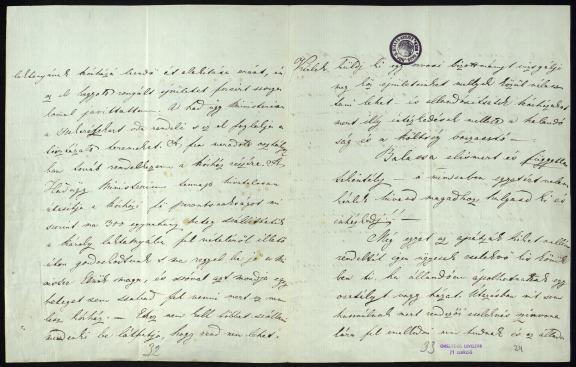 Meszlényiné Kossuth Zsuzsanna levele fivéréhez. Az 1848/1849-i minisztériumi levéltár – Miniszterelnökség, Országos Honvédelmi Bizottmány, Kormányzó-elnökség – Általános iratok (H 2) – Kossuth-Miscellanen – 9. sz.