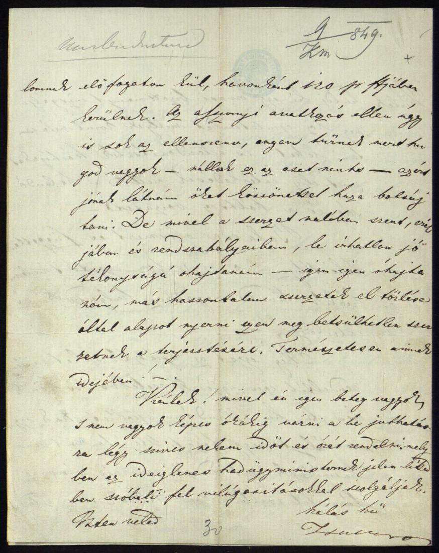 MMeszlényiné Kossuth Zsuzsanna levele fivéréhez. Az 1848/1849-i minisztériumi levéltár – Miniszterelnökség, Országos Honvédelmi Bizottmány, Kormányzó-elnökség – Általános iratok (H 2) – Kossuth-Miscellanen – 9. sz.eszlényiné Kossuth Zsuzsanna levele fivéréhez. Az 1848/1849-i minisztériumi levéltár – Miniszterelnökség, Országos Honvédelmi Bizottmány, Kormányzó-elnökség – Általános iratok (H 2) – Kossuth-Miscellanen – 9. sz.