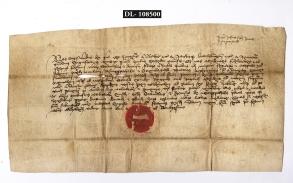 Zsigmond király Engen 1390. november 22-én kelt pergamen adománylevele Csuka fiai, Nermegpatakai Szaniszló és Dénes részére. Jelzet: MNL OL DL 108500.
