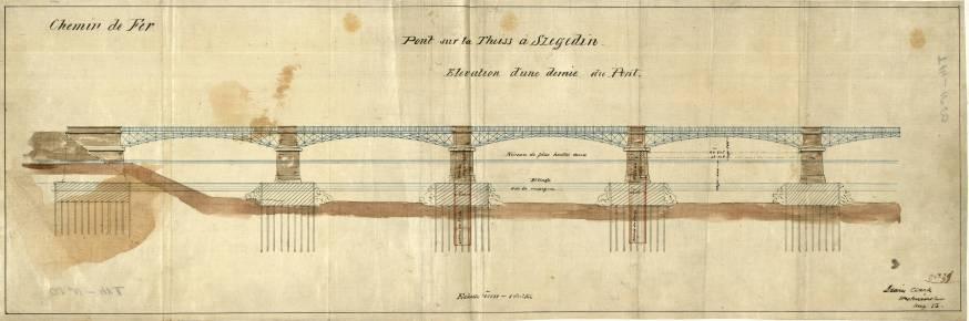 Szegedi Tisza-híd, 1856. A négypilléres, vasszerkezetű hidat Ernest Cezanne tervezte a Lánchíd tervezőjének, Clark Ádámnak a közreműködésével. Ezt a tervrajzot Clark Ádám rajzolta. A híd pilléreit a Tisza medrében beton alapok tartják, melyeknek magassága kétszer akkora, mint a híd víz feletti része. Jelzet: MNL OL T 14 – No. 50.
