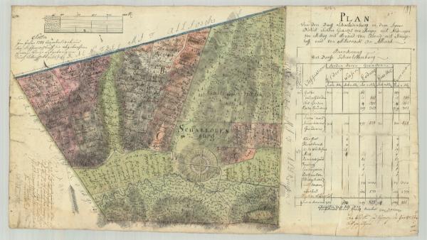Saroltavár (Charlottenburg) kéziratos térképe - eredeti őrzési helye MNL OL